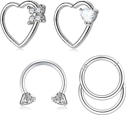 Modrsa 16g Cz Inlaid Heart Stainless Steel Daith Cartilage