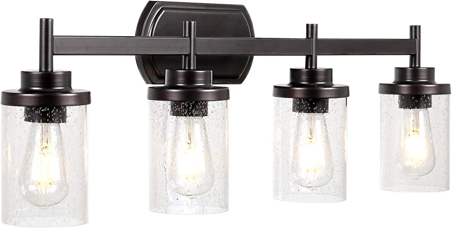 Bath Vanity Light Fixtures Jazava Bathroom Wall Sconces Lamp 4 Light 30 Inches Wall Mounted Vanity Lights With Clear Seeded Glass Shades For Mirror Cabinets Dressing Table
