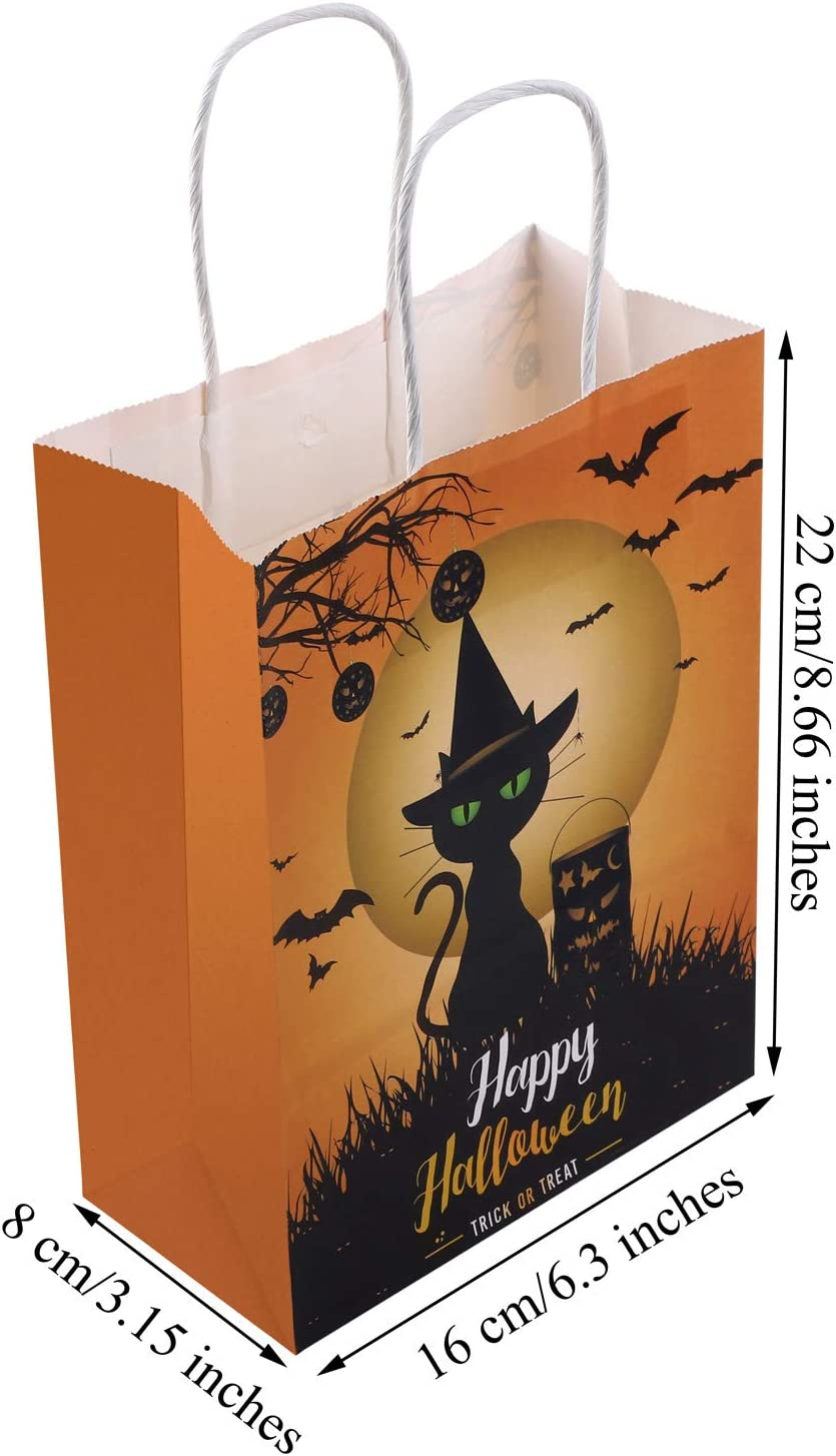 URATOT 20 Pieces Halloween Paper Bags Pumpkin Goodie Bags Trick or Treat Kraft Paper Bags with Handles for Party Supplies