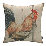 TRENDIN Retro Style Chicken Rooster Farm House Home Decor Throw Cushion Cover Burlap Pillow Case 18 x 18 Inches(PL027TR)