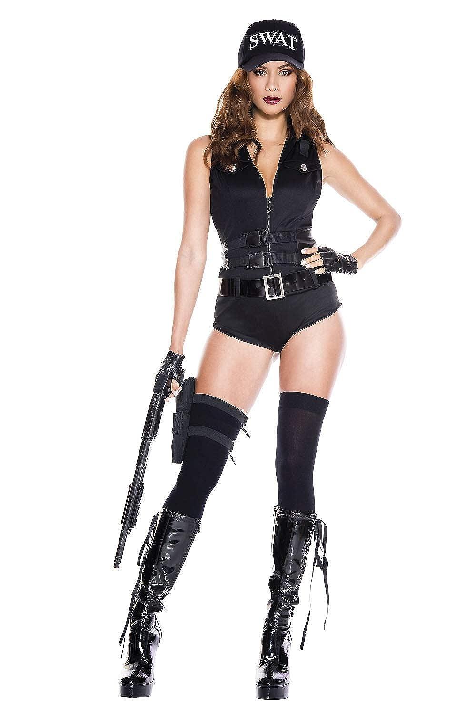2349f3a7b25 Amazon.com: 6 PC. Ladies SWAT Hotie Bodysuit Costume Set: Clothing