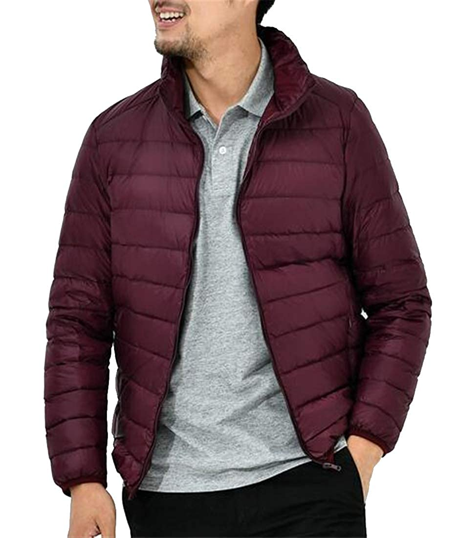 Fubotevic Men Lightweight Warm Solid Color Zip Up Winter Down Puffer Jacket Coat Outerwear