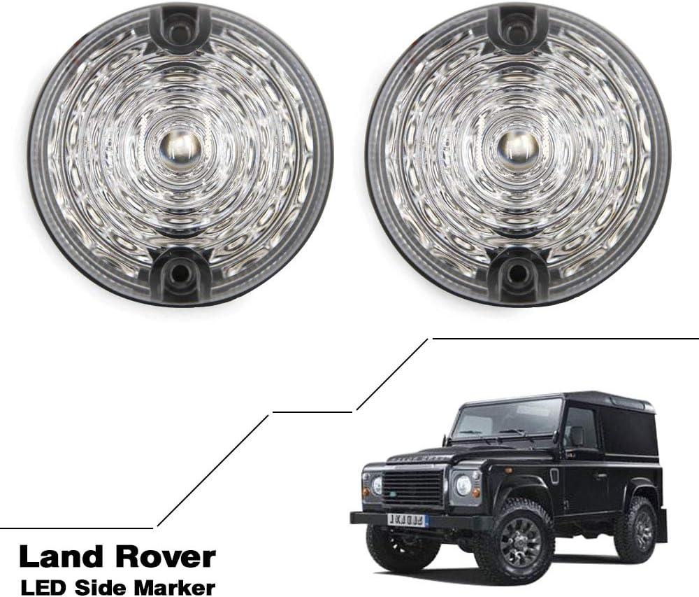 Clear lens For Defender 90//110 Amber LED Side Marker Light Indicator Assemblies Side Repeater Light 73mm 2pcs front 2pcs rear Lamp