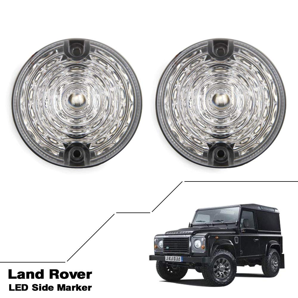 For Defender 90//110 Amber LED Side Marker Light Indicator Assemblies Side Repeater Light 73mm 2pcs front 2pcs rear Lamp Clear lens
