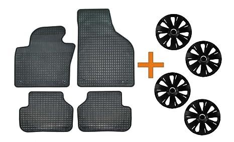 Set de alfombrillas de goma + Tapacubos Energy Negro 15 para Hyundai