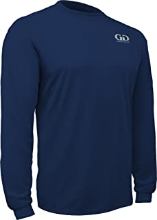 product image for PT-803L-CB Adult Men's and Women's Loose Fit Long Sleeve Workout Shirt-Made with Moisture Management and Anti-Microbial Performance Fabric (Large, Navy)