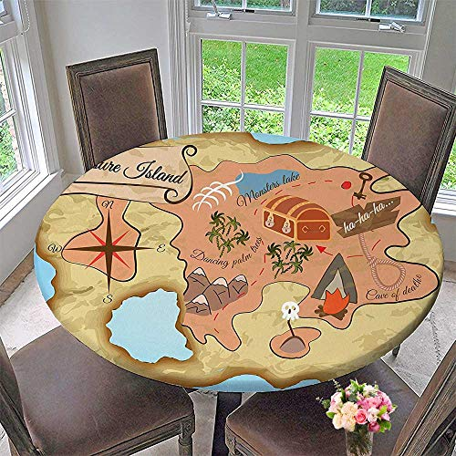 Round Polyester Tablecloth Table Cover Decor Cartoon Treasure Map of Tropical Beach with Chest and Key Mystical World for Most Home Decor 63