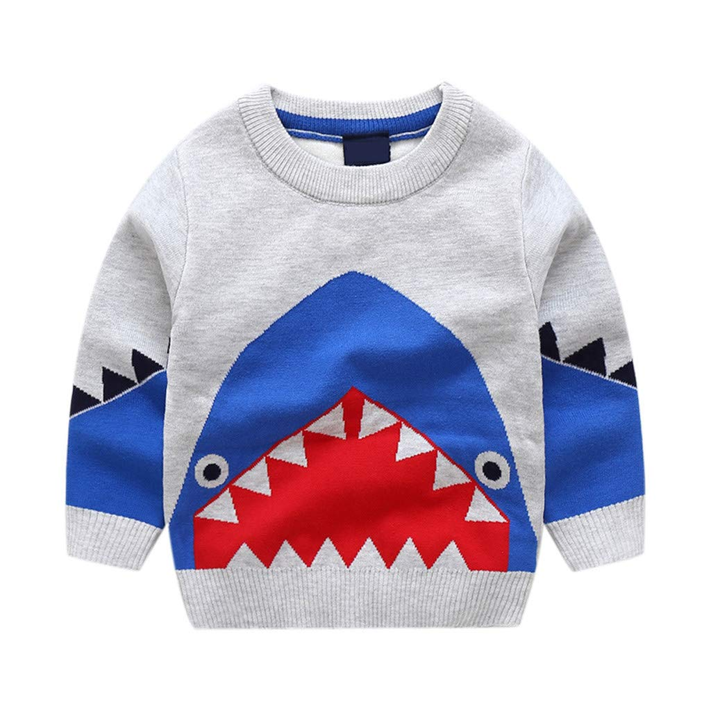 Toddler Infant Baby Kids Boys Girls Cartoon Shark Knitted Tops Sweater Outfits