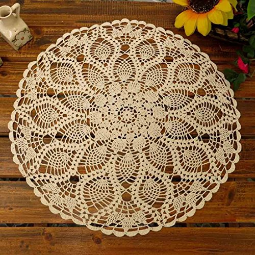 Phantomon Table Placemats Crochet Doilies Round Coasters Cotton Lace Doilies Table Sofa Cover, Waterlily Pattern, Round Shape Beige, 20Inch