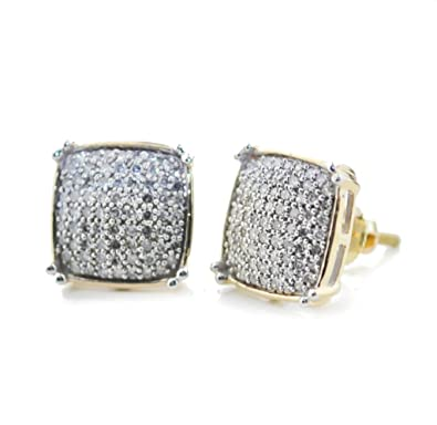 986628d13d866 Amazon.com: 10K Gold Mens Diamond Earrings 0.30ctw 10mm Wide Screw ...