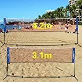 GYMAX 3m/4m Foldable Adjustable Badminton Tennis Volleyball Net W/Free Stand (3.1 * 1.55M)