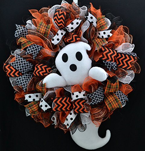 Ghost Wreath | Ghost Head and Tail Halloween Mesh Front Door Outside Wreath; Orange Black White