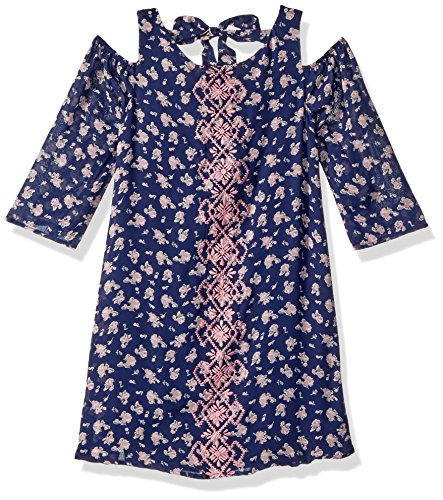 My Michelle Big Girls' Cold Shoulder Dress, Navy, 10 (Michelle My Clothes)