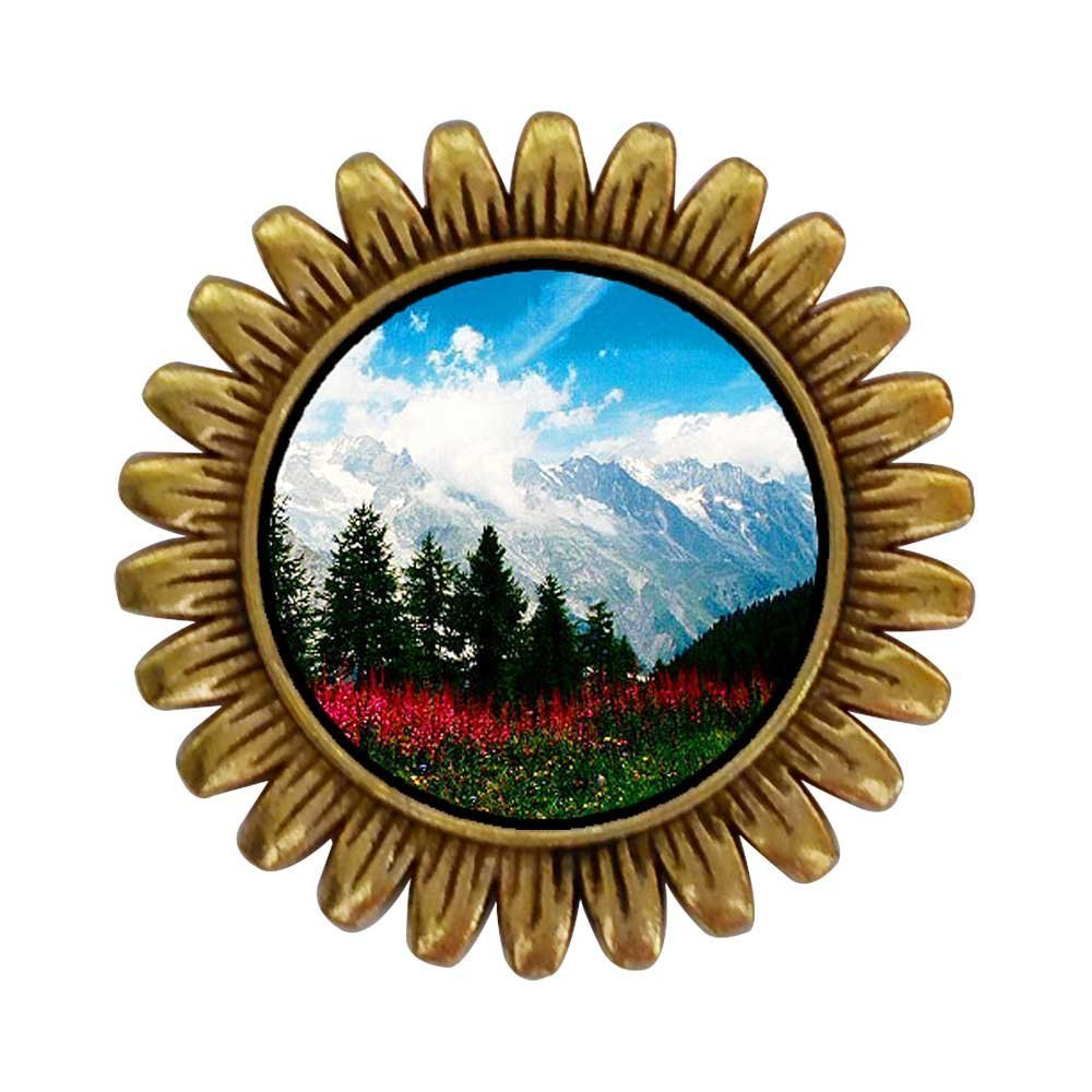 GiftJewelryShop Ancient Style Gold-plated Travel German Alps Sunflower Pins Brooch