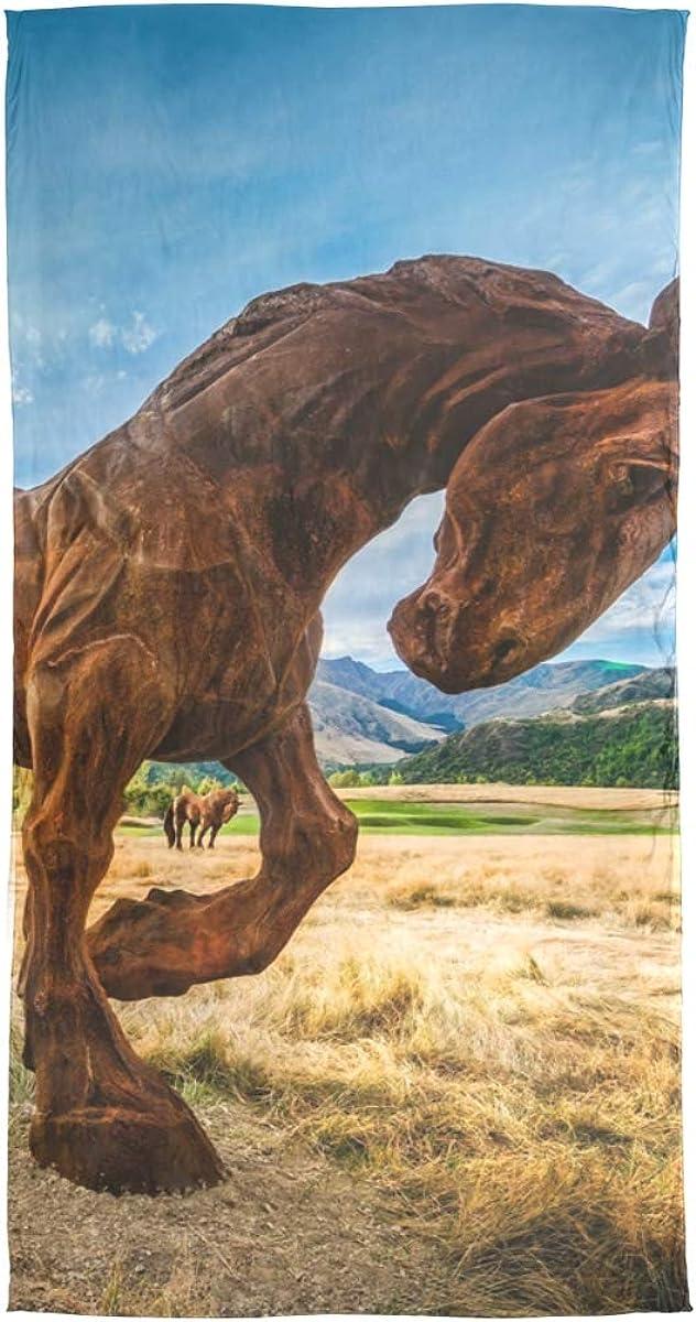 Bufanda de seda Mantón largo de gasa Pastizales Caballo Estatua de piedra A cuadros Abrigo de silenciador