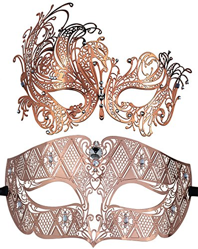 Masquerade Ball Costumes And Masks - Coddsmz 2 Pack Set Masks Masquerade Ball Halloween Costumes for Men and Women (Rose Gold+ Rose Gold)