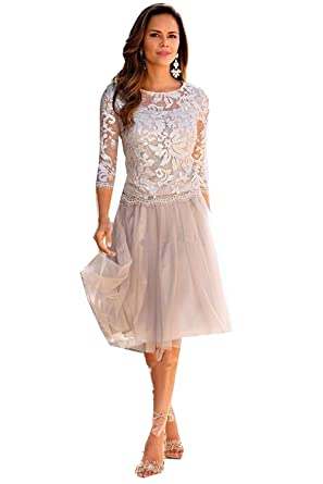c2320591c1 Amazon.com  3 4 Sleeve Lace Tulle Mother of The Bride Dresses Knee Length  Party Dresses  Clothing