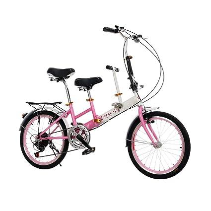 Velocidad De 20 Pulgadas Plegable Bicicleta Doble Asiento Doble Padre-niño Velocidad Coche Con Niños