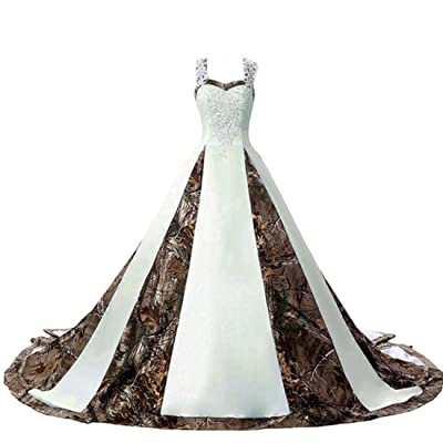 ZVOCY Women's Camouflage Wedding Dresses for Bride Satin Camo Long Formal Gown for Wedding White at Women's Clothing store