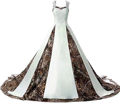 Zvocy Women S Camouflage Wedding Dresses For Bride Satin Camo Long