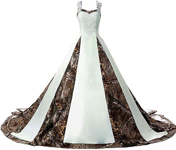 Zvocy Women S Camouflage Wedding Dresses For Bride Satin Camo Long