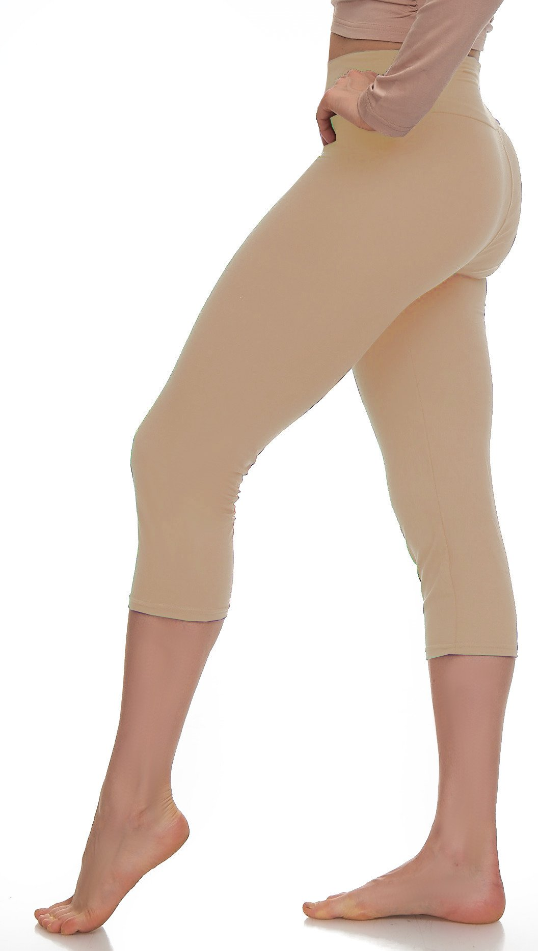 d87f22cc1799c3 Galleon - - Lush Moda Extra Soft Capri Leggings - Variety Of Colors - Yoga  Waist - Khaki 2