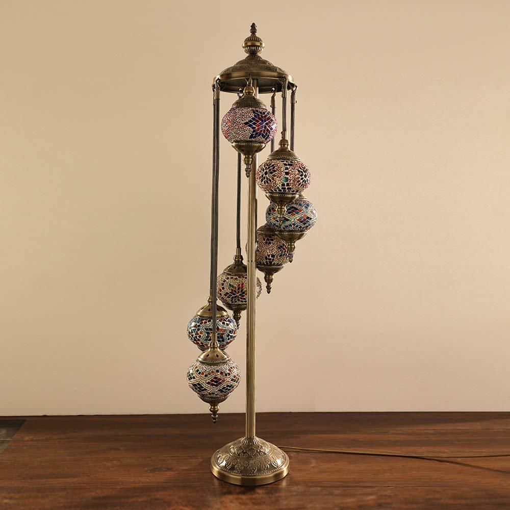 Turkish Moroccan Mosaic Floor Lamp Light, 7 Globes