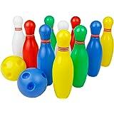 12 Stück Bowlingkugel Boule-Spiele Kegelspiel pädagogische interaktive Spielzeug für Kinder ab 3 Jahren (Medium)