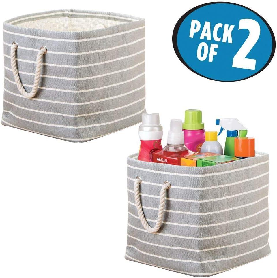 mDesign Juego de 2 cajas de almacenamiento cuadradas con asas – Cesto de la ropa para ordenar la sala de lavandería – Organizadores de tela para detergentes y suavizantes – gris/crema: Amazon.es: Hogar