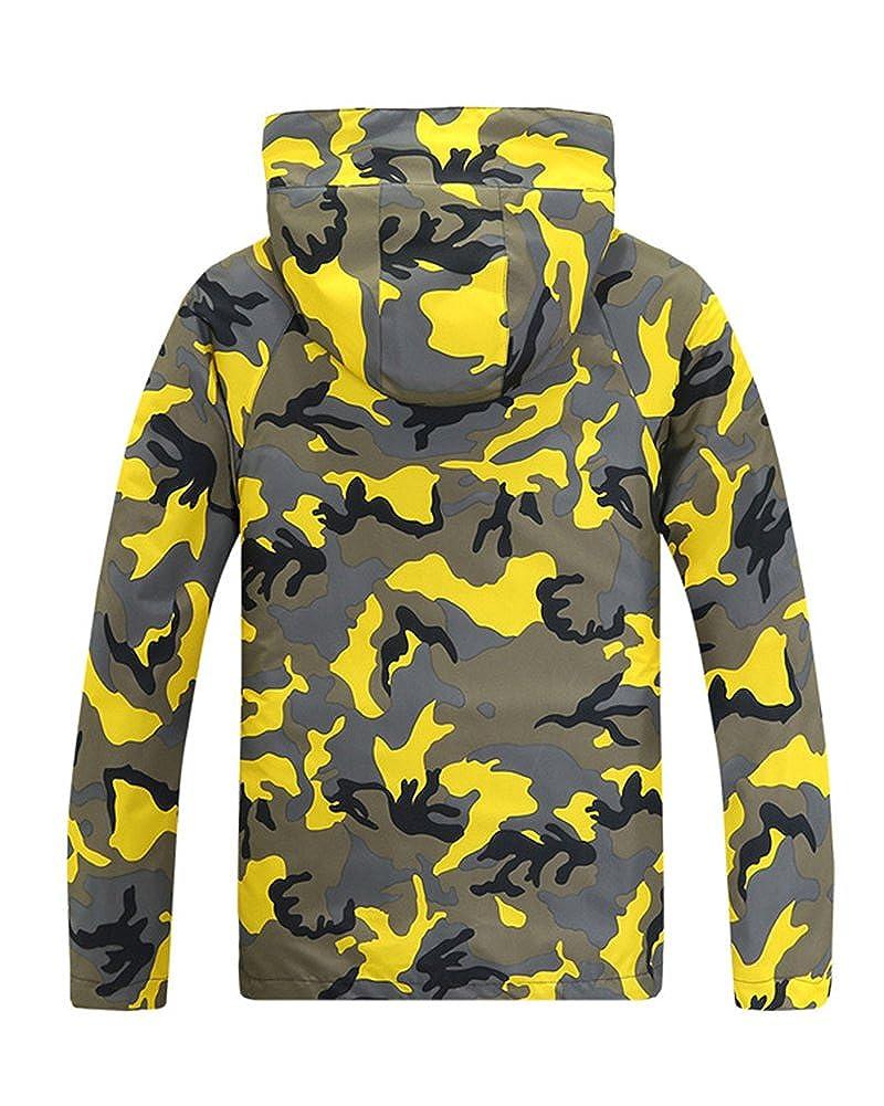 Qitun Hombre Mujer Camuflaje Desmontable Rompevientos Esqu/í Impermeable Chaqueta de Abrigo al Aire Libre