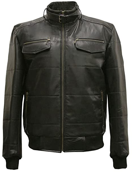 efca46fd5 Mens Black Real Leather Casual Modern Bomber Jacket: Amazon.co.uk ...