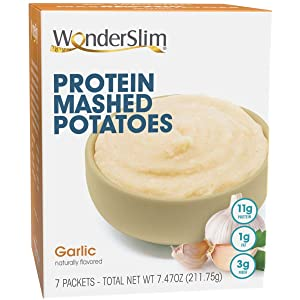 WonderSlim Garlic Instant Mashed Potatoes, Only 110 Calories, Packed with 11g Protein Designed for Weight Loss, <1g sugar,=