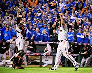 San Francisco Giants Madison Bumgarner And Buster Posey Celebrating The 2014 World Series Victory 8x10 Photo Picture