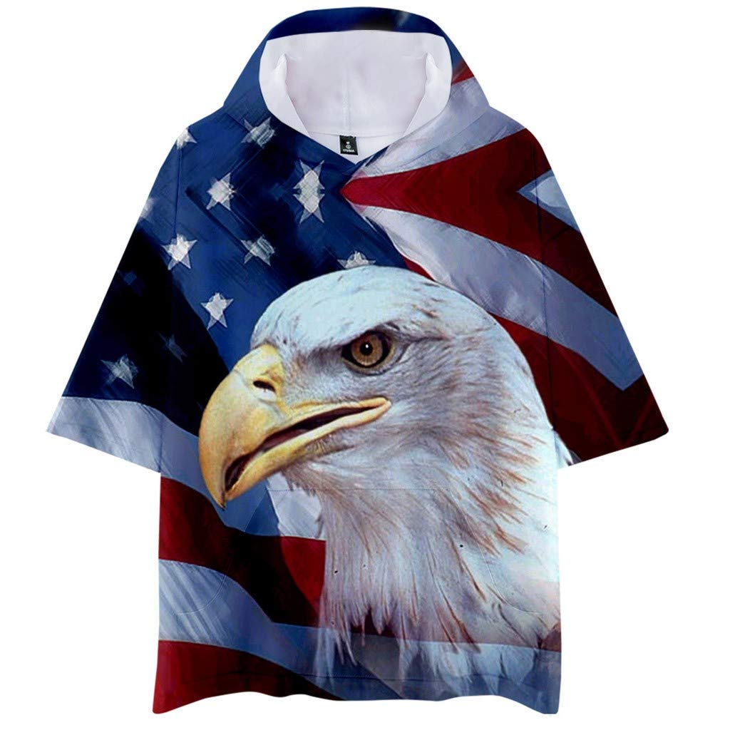 Mens Short Sleeve Hooded T-Shirt Tee American Flag Print Loose Top Blouse Dowager American Independence Day Clothing