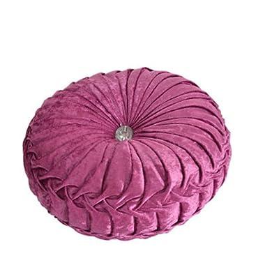 NOVWANG Round Solid Color Velvet Chair Cushion Couch Pumpkin Throw Pillow Home Decorative Floor Pillow,13.39 x 13.39,Fuchsia