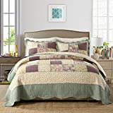 100% Cotton 3-Pieces Quilt Set Queen Size (98''x90'') Girls Country Rustic Reversible Floral Printed Coverlet Set Grids Patchwork Quilt Bedspread Set All Seasons Pre-washed Quilt Set