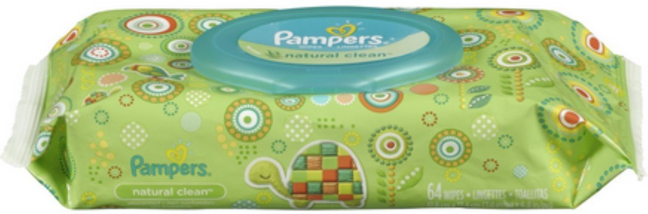 Pampers Natural Clean Wipes Travel Pack, 64 ea (Pack of 4)