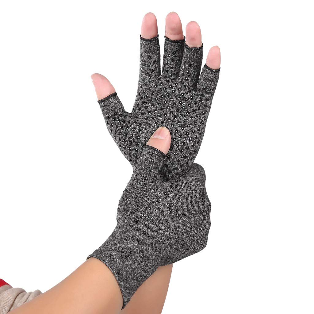 MIS1950s Arthritis Gloves(2pc) - Men Women Compression Hand Glove for Osteoarthritis and Rheumatoid Rehabilitation Training - Arthritic Joint Pain Relief - Carpal Tunnel Wrist Support - Open Finger