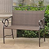 International Caravan Valencia Patio Garden Bench in Antique Brown For Sale