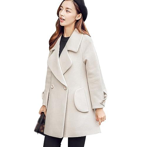YAANCUN Mujer Otoño Estilo Coreano Clásico Moda Abrigo De Lana
