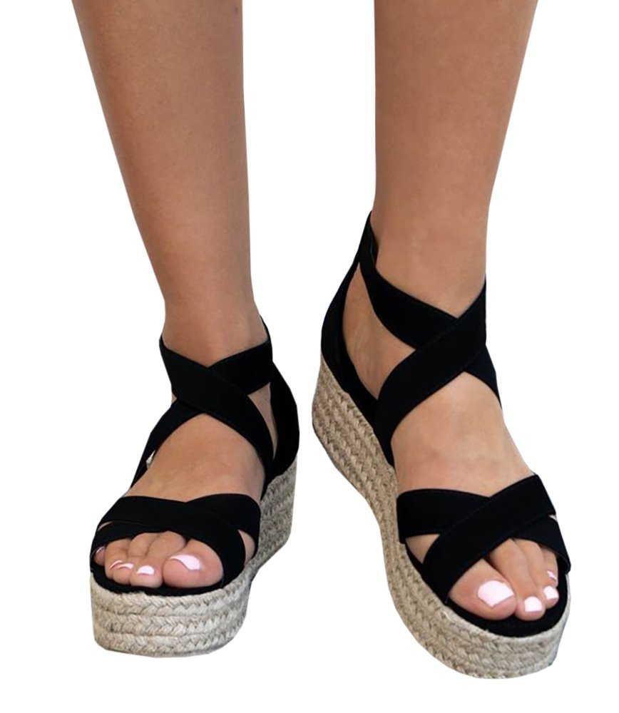 Ivay Women's Open Toe Strappy Platform Casual Espadrille Sandals Shoes
