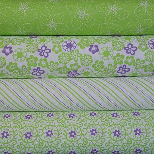 Fabric 4 Fat Quarters (Lime Scrolls Bundle, 4 fabric fat quarters 100% cotton, 1 yard total)