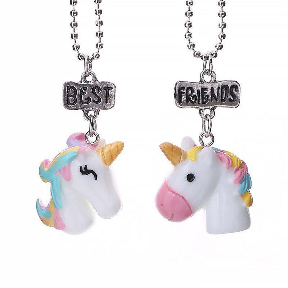 LUREME 2 Packs Best Friends Kids Children Resin Pendant Necklace-Unicorn (nl005973-1)