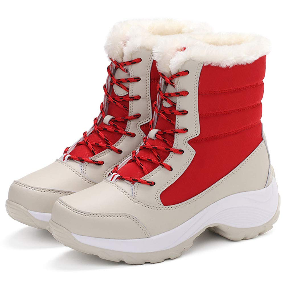 Damen Schneeschuhe Warme und Samtige Wasserdichte Rutschfeste Dicke Modestiefel,rot,EU36 UK3