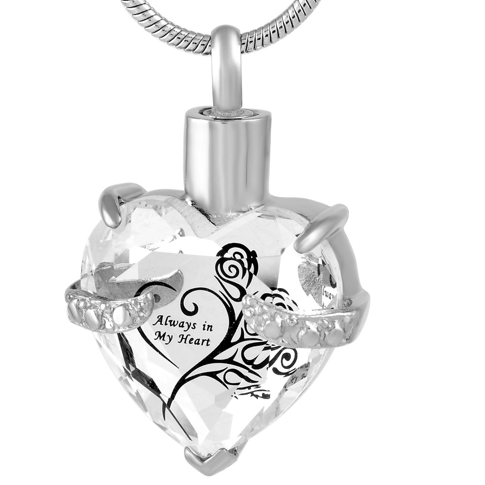 Always In My heart Crystal Necklace Stainless Steel Cremation Ashes Pendant Memorial Cremation Jewelry