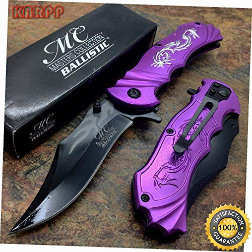 Ballistic Lasered Dragon Fantasy Hunting Pocket Knife (PURPLE) - Outdoor Camping perfect For Hunting EDC EMT