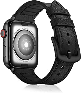 Compatible with Apple Watch Leather Band 42mm 44mm 38mm 40mm   Genuine Leather Replacement Band   Series 5 4 3 2 1 (Hybrid-Black, 44mm/42mm)