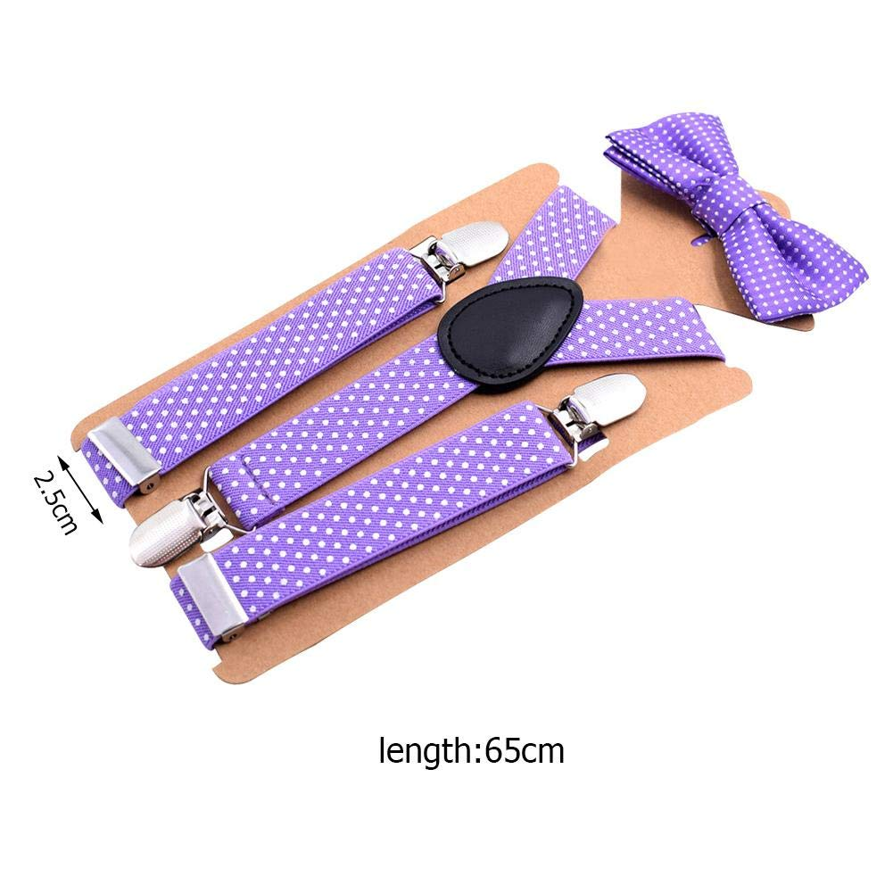 KID/'S Polka Dot Clip-on  Elastic Suspenders Bow-Tie Combo TODDLER BOYS GIRLS