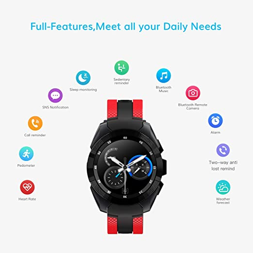 Smart Watch, Wonbo Bluetooth Touchscreen Sports Smartwatch, Remote Control Music & Fitness Heart Rate Tracker Sleeping Monitor, Make Call/SNS ...