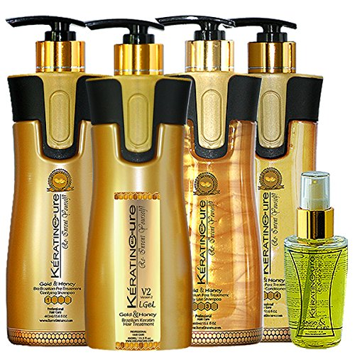 Keratin Cure Brazilian Treatment V2 LGEL Gold & Honey Hair Straightening Repair and Shine 5 Piece Kit 460 Ml /15 Fl Oz - Tratamiento Brasilera De Keratina Alisado by Keratin Cure